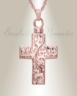 14K Rose Gold Etched Cross Memorial Locket