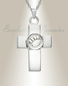 14K White Gold Devoted Paw Cross Memorial Locket