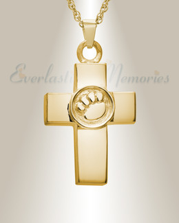 14K Gold Devoted Paw Cross Memorial Locket