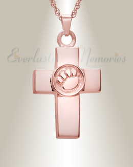 14K Rose Gold Devoted Paw Cross Memorial Locket
