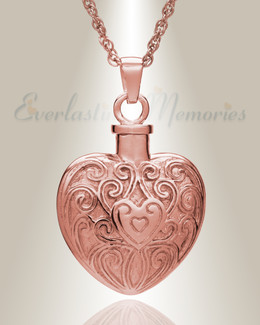 14K Rose Gold Filigree Love Heart Urn Necklace