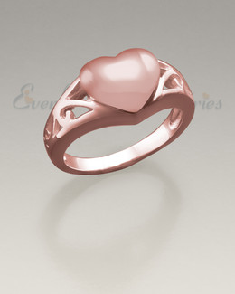 Women's 14K Rose Gold Caring Heart Ring Jewelry Urn