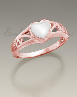 Women's 14K Rose Gold Mother of Pearl Cremation Ring