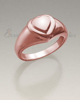 Women's 14K Rose Gold Forever Love Heart Cremation Ring