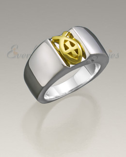 Men's White Gold Worthy Ring Jewelry Urn