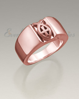 Men's 14K Rose Gold Worthy Ring Jewelry Urn