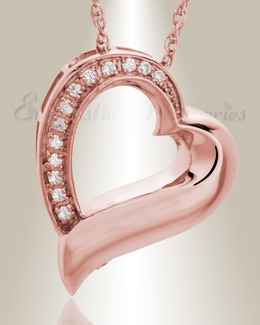 14K Rose Gold Passion Heart Funeral Jewelry