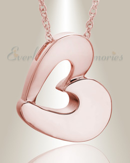 14K Rose Gold Fashion Heart Cremation Jewelry