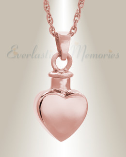 14K Rose Gold Small Heart Pendant Memorial Locket