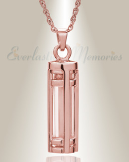 14K Rose Gold Fulfillment Cylinder Memorial Pendant