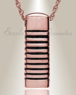 14K Rose Gold Grooved Cylinder Urn Necklace