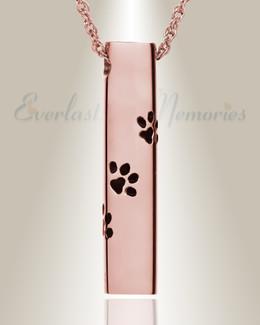 14K Rose Gold Paw Cylinder Jewelry Urn