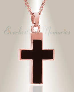 14K Rose Gold Cross with Onyx Stone Urn Keepsake