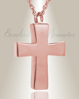 14K Rose Gold Parchment Cross Memorial Pendant