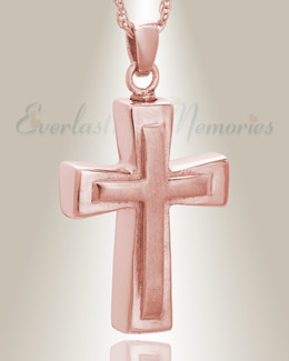 Rose Gold Double Cross Cremation Charm