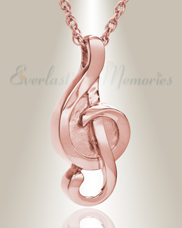 14K Rose Gold Harmonious Music Note Memorial Locket