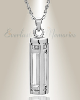 14K White Gold Fulfillment Cylinder Memorial Pendant