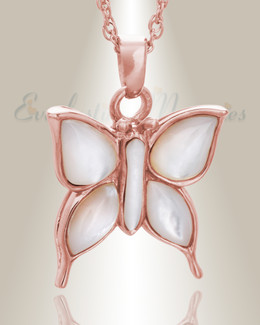 14K Rose Gold Dewy Butterfly Memorial Locket
