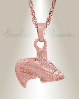 14K Rose Gold Fish Memorial Pendant