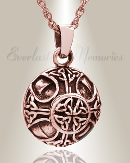 14K Rose Gold Celtic Round Cremation Jewelry