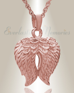 14K Rose Gold Feathered Heart Cremation Charm