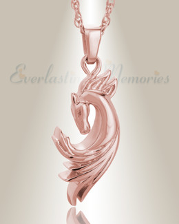 14K Rose Gold Stallion Memorial Jewelry