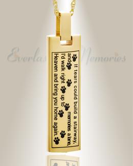 14K Gold Loving Cylinder Pet Urn Keepsake