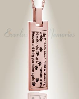 14K Rose Gold Loving Cylinder Pet Urn Keepsake