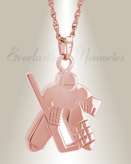 14K Rose Gold Hockey Player Cremation Locket