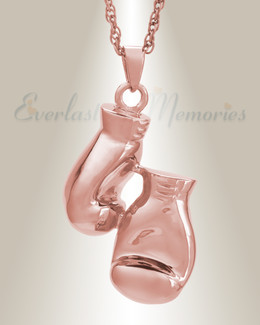 14K Rose Gold Boxing Necklace Urn