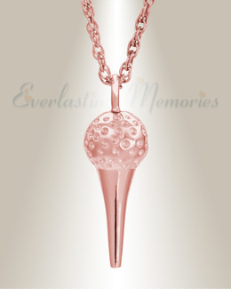 14K Rose Gold Golf Tee Memorial Pendant