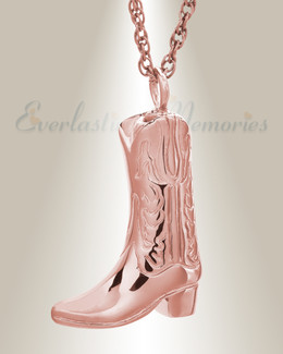 14K Rose Gold Boot Cremation Jewelry
