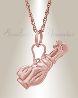 14K Rose Gold Golf Clubs Cremation Jewelry