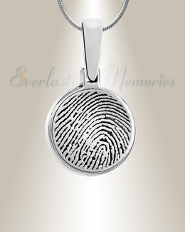 Sterling Silver Round Fingerprint Necklace