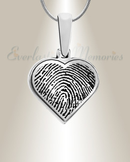 Heart Sterling Silver Fingerprint Necklace