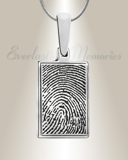 Rectangle Sterling Silver Fingerprint Necklace
