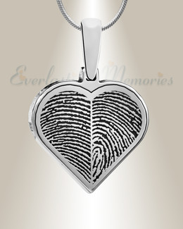 Sterling Silver Two Fingerprint Heart Fingerprint Necklace