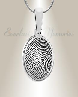 Sterling Silver Oval Fingerprint Necklace
