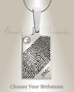 Birthstone Rectangle Silver Fingerprint Necklace