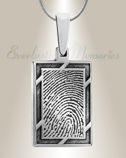 Silver Framed Rectangle Fingerprint Necklace