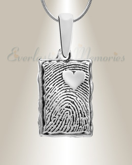 Silver Loved Rectangle Fingerprint Necklace