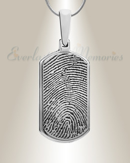 Dog Tag Sterling Silver Fingerprint Necklace