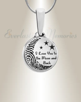 Love You To The Moon Silver Fingerprint Necklace