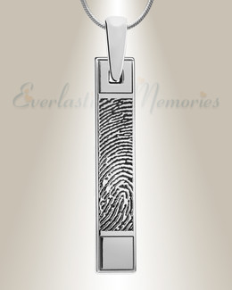 Barred Silver Fingerprint Necklace