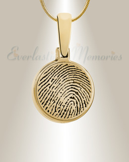 Gold Plated Round Fingerprint Necklace