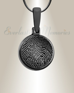 Round Black Plated Fingerprint Necklace