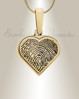 Gold Plated Heart Fingerprint Necklace
