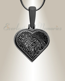 Black Plated Heart Fingerprint Necklace