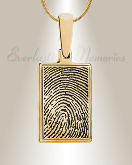 Gold Plated Rectangle Fingerprint Necklace