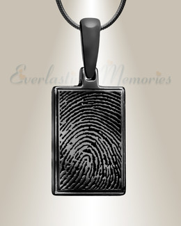 Black Plated Rectangle Fingerprint Necklace